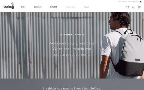 Screenshot of Press Page bellroy.com - Press Site | Editorial and PR requests | Bellroy - captured Feb. 17, 2019