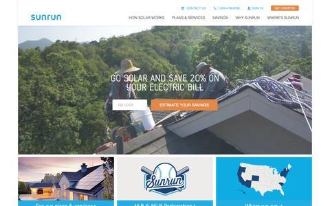 Screenshot of Home Page sunrun.com - Sunrun: Leading Home Solar Energy Company - captured Aug. 9, 2016