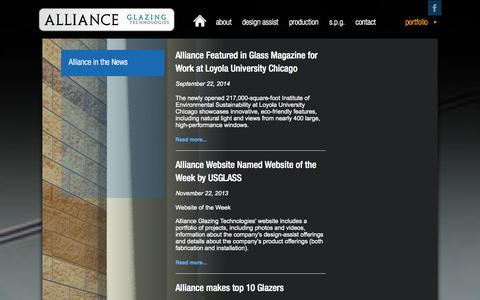 Screenshot of Press Page allianceglazing.com - In the news - Alliance Glazing Technologies - captured Oct. 4, 2014