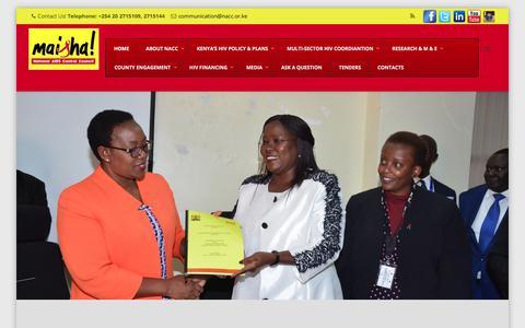 Screenshot of Home Page nacc.or.ke - National AIDS Control Council | NACC - captured Sept. 25, 2018