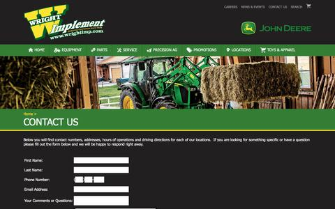 Screenshot of Contact Page wrightimp.com - Wright Implement - Contact Us - captured Feb. 15, 2016