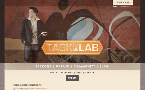 Screenshot of Services Page thetasklab.com - Terms   Tasklab - captured Sept. 25, 2014