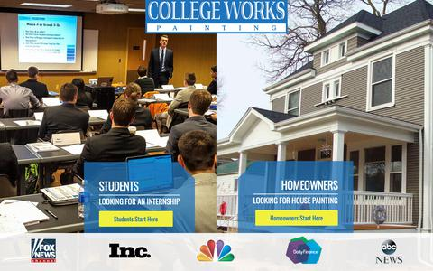 Screenshot of Home Page collegeworks.com - Student Painters Internship – College Works Painting - captured Sept. 28, 2018