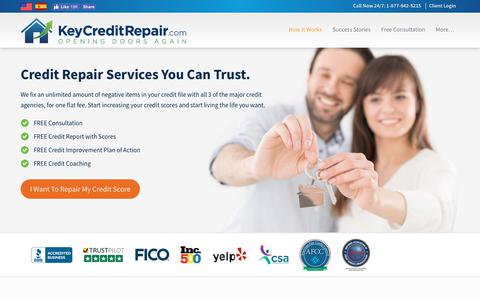 Screenshot of Home Page keycreditrepair.com - Credit Repair Services – Top Rated | Key Credit Repair - captured March 13, 2019