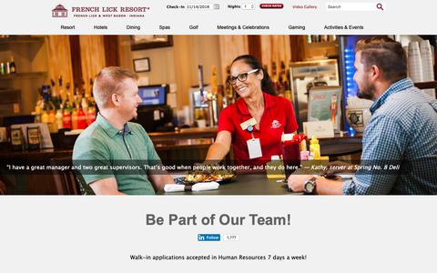 Screenshot of Jobs Page frenchlick.com - Employment | French Lick Resort - captured Nov. 14, 2018