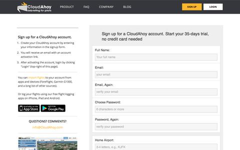 Screenshot of Signup Page cloudahoy.com - Sign-up for CloudAhoy. The way pilots review flights - captured July 19, 2018