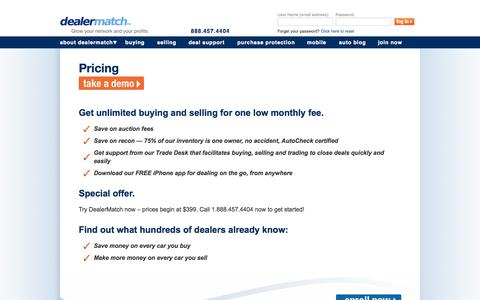 Screenshot of Pricing Page dealermatch.com - Car Auction Prices | Auto Auction Fees | DealerMatch - captured Sept. 23, 2014