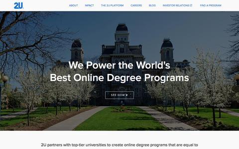 We Power the World's Best Online Degree Programs  | 2U