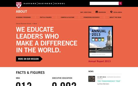 Screenshot of About Page hbs.edu - About - Harvard Business School - captured Oct. 2, 2014
