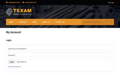 Screenshot of Login Page texam.co.uk - My Account - Conveyor Systems | Pipe Joint Systems | Texam Limited - captured Oct. 21, 2017