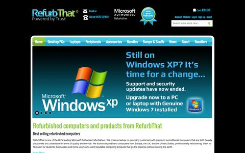 Screenshot of Home Page refurbthat.com - Refurbished Laptops and Computers | RefurbThat - captured Oct. 10, 2014