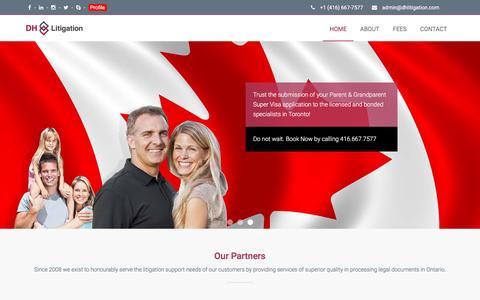 Screenshot of Home Page dhlitigation.com - Ontario Legal Document Specialists - DHLitigation.com - captured Jan. 26, 2017