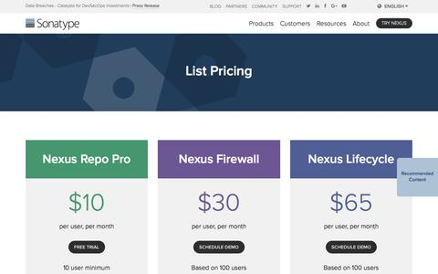 Screenshot of Pricing Page sonatype.com - Nexus – Product Pricing - captured June 20, 2018