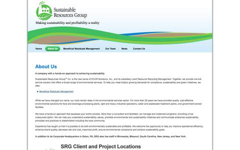 Screenshot of About Page sustainableresourcesgroup.com - About Sustainable Resources Group - captured Oct. 7, 2014