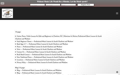 Screenshot of Site Map Page musiciansinmotion.com captured Dec. 10, 2018