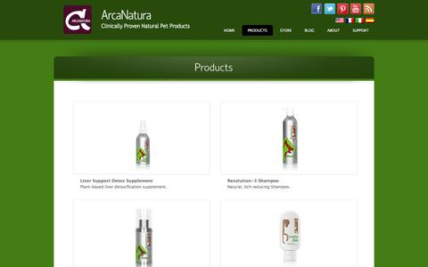 Screenshot of Products Page arcanatura.com - Natural Pet Products - captured Feb. 5, 2016