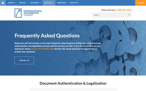Screenshot of FAQ Page idocscanada.ca - Frequently Asked Questions | International Documents Canada : International Documents Canada - captured Nov. 14, 2018