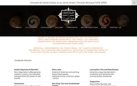 Screenshot of Menu Page artofchocolat.co.uk - Chocolates — Chocolat By Daniel Coletta - captured Sept. 27, 2015