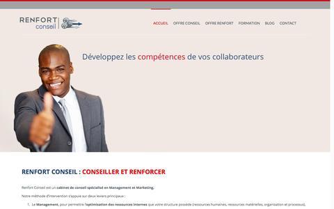 Screenshot of Home Page renfortconseil.com - Renfort Conseil : Management & Marketing - captured Jan. 11, 2016