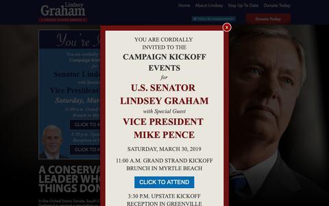 Screenshot of Home Page lindseygraham.com - United States Senator Lindsey Graham   LindseyGraham.com - captured March 21, 2019