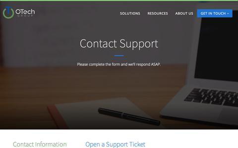Screenshot of Support Page otechgroupllc.com - Contact Support - otechgroupllc.com - captured Feb. 20, 2019