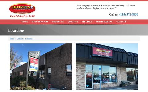 Screenshot of Locations Page christianhvac.com - Locations | Christian Heating and Air Conditioning, Inc. - captured Sept. 28, 2018