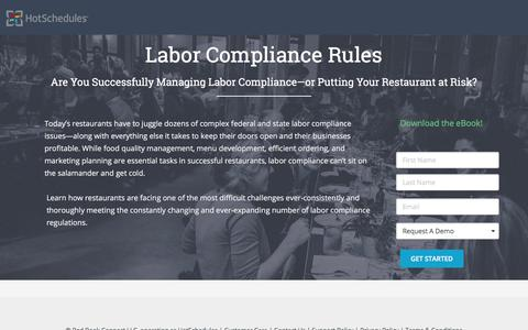 Screenshot of Landing Page hotschedules.com - Ebook - Restaurant Labor Compliance Rules - captured March 8, 2018
