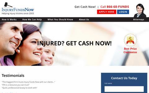 Screenshot of Testimonials Page injuryfundsnow.com - Testimonials | Injury Funds Now - captured Sept. 19, 2018