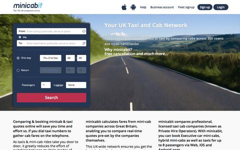 Screenshot of Home Page minicabit.com - minicabit.com - Book Cheap Mini Cab & Taxi Online - captured Dec. 20, 2017