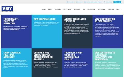 Screenshot of Press Page visy.com.au - Newsroom — Visy - For a better World - captured July 30, 2016