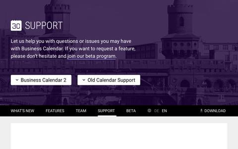 Screenshot of Support Page businesscalendar.de - BusinessCalendar - captured Feb. 6, 2016