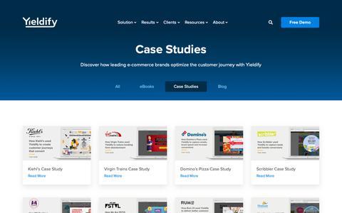 Screenshot of Case Studies Page yieldify.com - Case Studies - Yieldify | Customer Journey Tools - captured Jan. 29, 2019