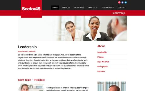 Screenshot of Team Page sector45.com - Leadership Team | Sector45 Online Marketing - captured Sept. 30, 2014