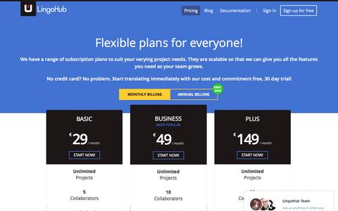 Screenshot of Pricing Page lingohub.com - Plans and Prices - LingoHub - Easy web and mobile localization - captured Nov. 11, 2015