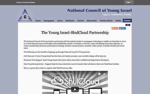 Screenshot of Signup Page youngisrael.org - Sign Up with ShulCloud - National Council of Young Israel - captured Oct. 18, 2018
