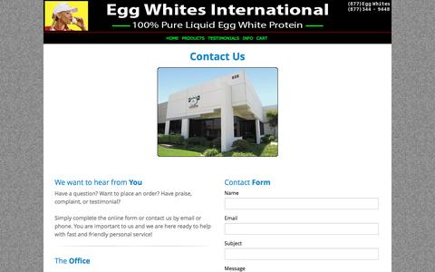 Screenshot of Contact Page eggwhitesint.com - Egg Whites International - 100% All Natural Pure Liquid Egg Whites | EGG WHITES INTERNATIONAL, LLC. - captured Oct. 28, 2016