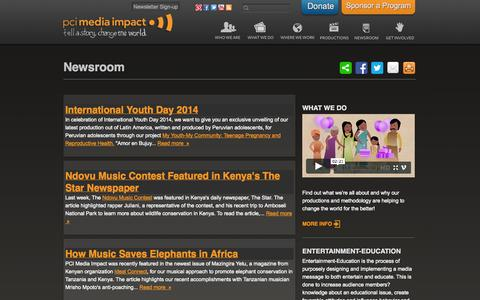 Screenshot of Press Page mediaimpact.org - Newsroom | PCI Media Impact - captured Oct. 1, 2014