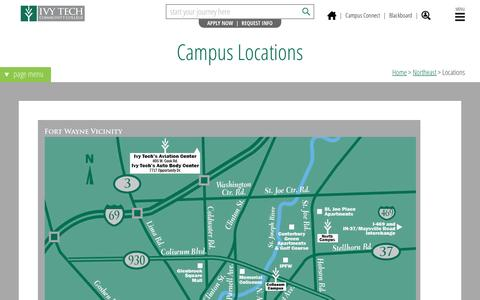 Screenshot of Maps & Directions Page ivytech.edu - Locations - Ivy Tech Community College of Indiana - captured Feb. 11, 2016