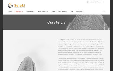 Screenshot of About Page salaki-salaki.com - The History of Salaki & Salaki | Tax and Business Consulting Firm - captured July 21, 2016