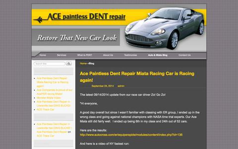 Screenshot of Blog acepdr.com - Auto Body Shop and Miata Blog in Lewisville, TX | Ace Paintless Dent Repair - captured Oct. 9, 2014