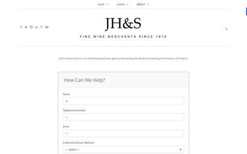 Screenshot of Contact Page winetrader.ca - Contact | JH&S - captured Feb. 11, 2016