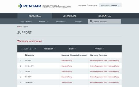 Screenshot of Support Page pentairthermal.com - Quality Assurance | Heating Systems | Pentair Thermal Management Solutions - captured Jan. 27, 2016