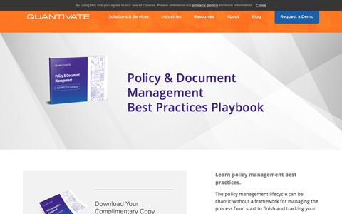 Screenshot of Team Page quantivate.com - Policy & Document Management Best Practices Playbook | Quantivate - captured Dec. 3, 2019