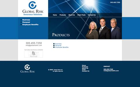 Screenshot of Products Page globalriskllc.com - Products of Global Risk LLC, independent full service insurance agency. Miami, South Florida. - captured Sept. 30, 2014