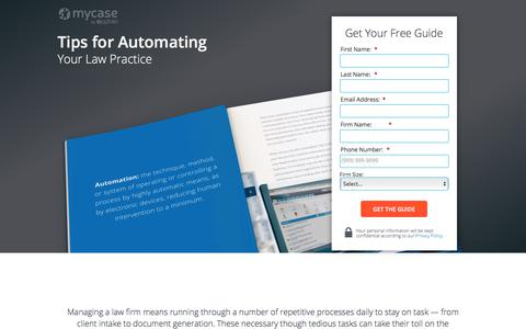 Screenshot of Landing Page mycase.com - Tips for Automating Your Law Practice :: MyCase Legal Resources - captured April 19, 2018
