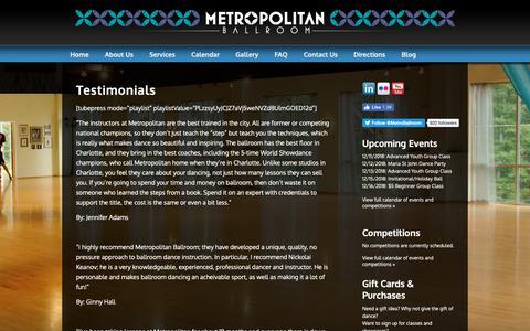 Screenshot of Testimonials Page metropolitan-ballroom.com - Metropolitan Ballroom - captured Dec. 10, 2018