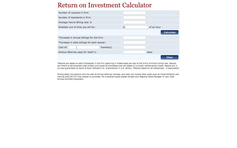 Amicus Attorney - ROI Calculator