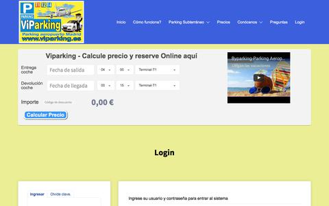 Screenshot of Login Page byparking.es - Parking Larga estancia Aeropuerto barajas | Byparking aeropuerto Madrid - captured June 3, 2017