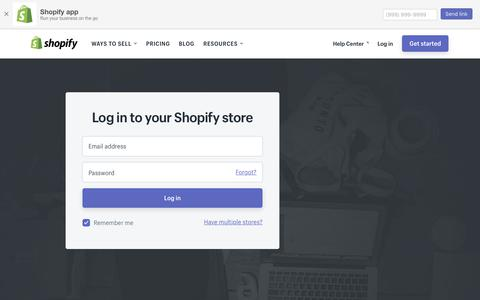 Screenshot of Login Page shopify.com - Login — Shopify - captured Jan. 25, 2018