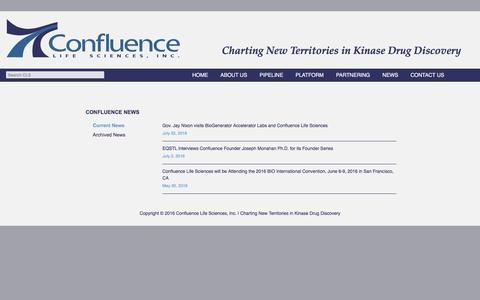 Screenshot of Press Page confluencelifesciences.com - Current News | Confluence Life Sciences, Inc. | Charting New Territories in Kinase Drug Discovery - captured Dec. 6, 2016